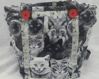 Cats and Quicksy Mouse on this unique Vegan shoulder/cross body handmade bag.