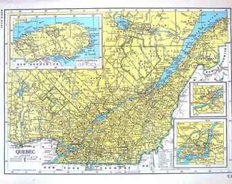 East canada map large 1957 map of canada old map quebec map ontario map canada map 1947 large 2 sided book plate from gumiabroncs Choice Image