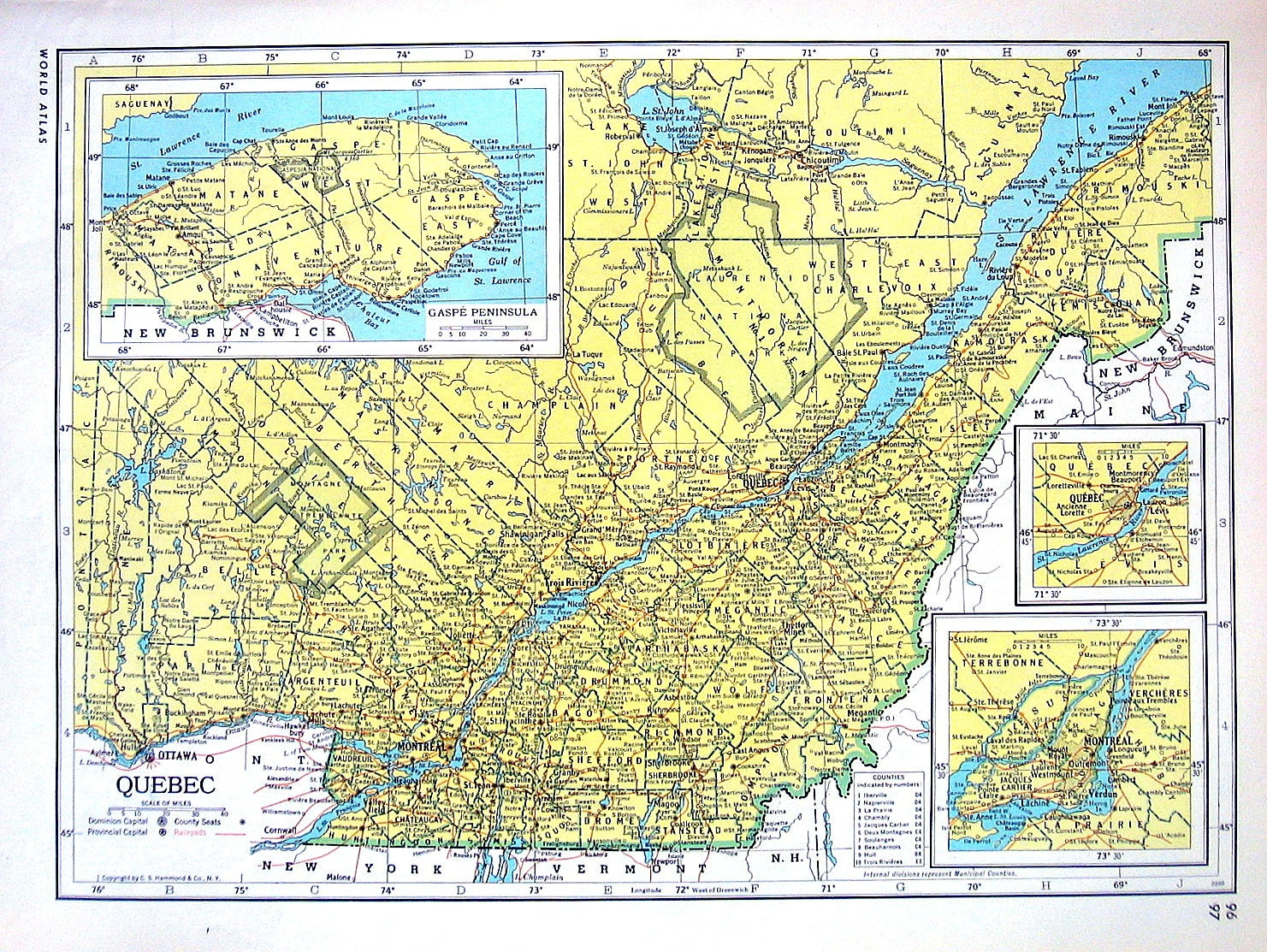 Quebec map ontario map canada map 1947 large 2 sided book zoom gumiabroncs Choice Image