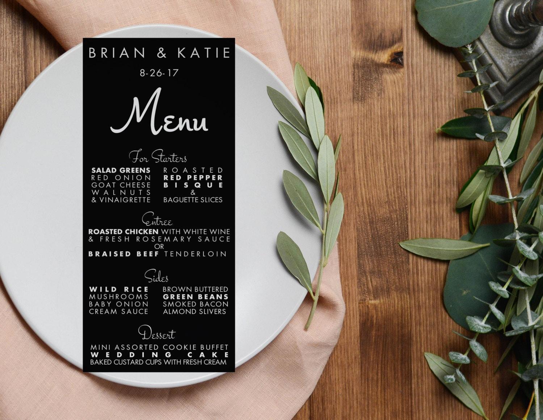 modern wedding menus menu cards 4x9 elegant