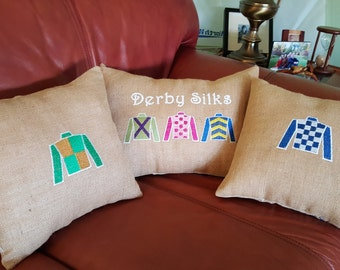 KENTUCKY DERBY BURLAP  Pillows