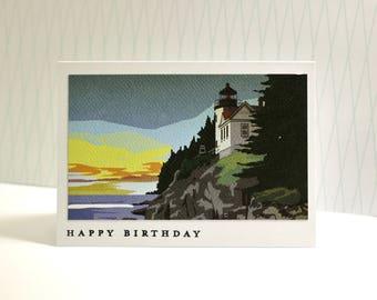 Vintage Lighthouse Birthday Card, Maine Lighthouse Birthday Card, Vintage Travel Birthday Card, 1950's Inspired Maine Birthday Card
