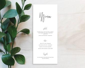 Modern Wedding Menu Printable