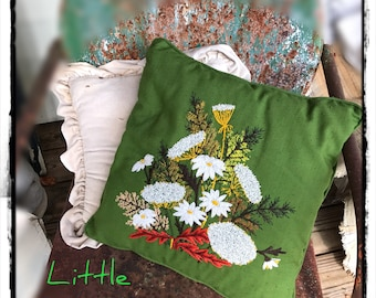 Vintage Crewel Pillow Wildflowers Ready to Ship LittlePinkTrailer
