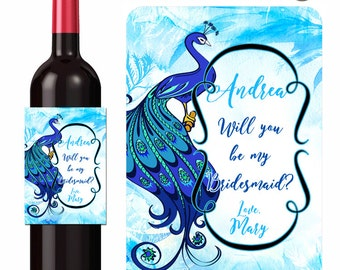 Custom Wine Labels / Peacock Wine Label / Personalized Wine Labels / Bridesmaid / Maid of Honor / Unique Gift Labels / Wedding Labels