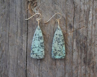 African Turquoise Stone Earrings- Gold
