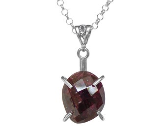 Garnet Necklace in Sterling Silver