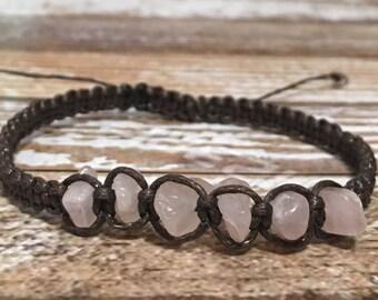 Rose Quartz Healing Bracelet / Raw Crystal Jewelry / Healing Crystal Bracelet / Healing Crystal Jewelry / Raw Rose Quartz Jewelry