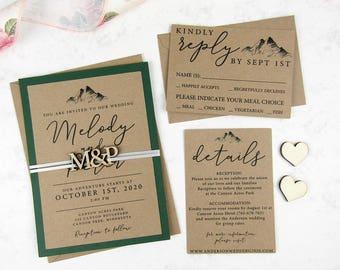 Wedding Invitation Set, Mountain Invitation, Kraft Invitation, Custom Rustic Invitation, Wood Wedding Invitation, Wedding Save the date