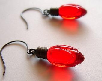 Christmas Light Earrings Red Holiday Dangle Earrings Christmas Jewelry Vintage Light Bulb Charms Holiday