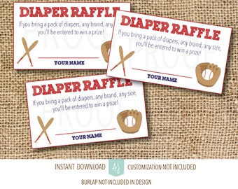 Baby Shower Games-Diaper Raffle- Instant Download-Customization NOT Included- Baseball Themed