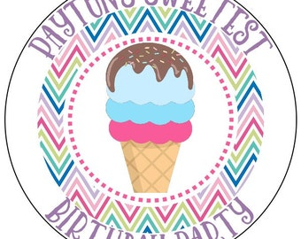 rainbow ice cream birthday labels, ice cream party stickers, sweet party sticker labels, chevron ice cream stickers, available in 3 sizes