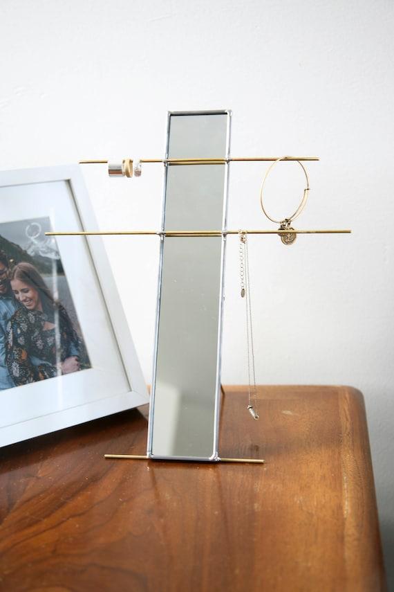 Stained Glass Mirror Jewelry Stand Organizer Jewelry Holder