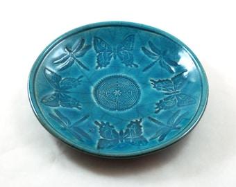 DRAGONFLY BUTTERFLY CELTIC Offering Bowl Handmade Raku Pottery