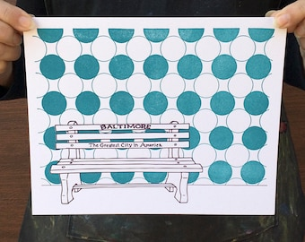 "Baltimore Letterpress Poster | Greatest City in America Bench | purple & teal 8"" x 10"" poster"