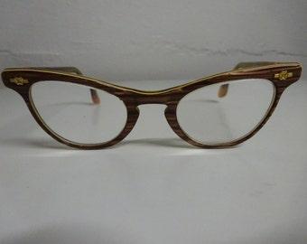 Vintage Shuron Small Brown Cat Eye Eyeglasses - FREE SHIPPING