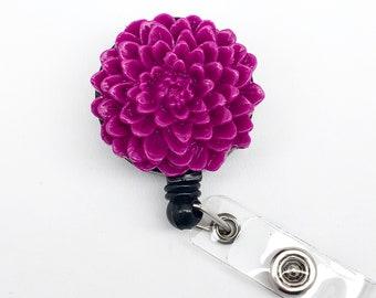 Handmade Purple Chrysanthemum Flower Cabochon Alligator Swivel Clip Retractable ID Badge Reel / Name Badges / ID Badge Holder Great Gift