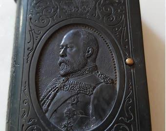 Vintage match safe /king Edward 7th match box / match holder / match safe / etched celluloid / souvenir match safe / royalty match holder