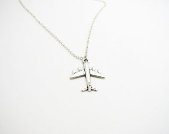 Airplane Necklace - Airplane Pendant - Silver Airplane - Plane Necklace - Pilot Gift - Airplane Jewelry - Travel Necklace - Flight Attendant