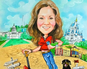Colored cartoon by photo (1 person). Caricature by photo. Custom made funny portrait. Personalized gift.