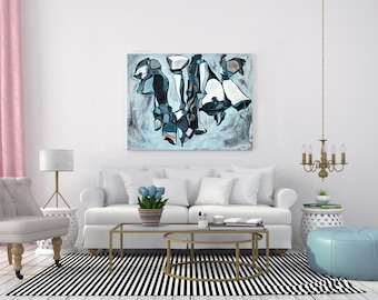 Large Abstract ORIGINAL Painting, Abstract Plant Nature, Marine Blue Teal White Painting, Abstract Art, Acrylic Ink Painting, Line Painting