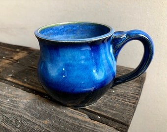 Mug ceramic l Handmade wheel thrown pottery black and blue 13oz