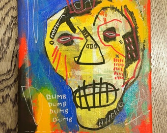 "Miniature Original Streetart Graffiti painting on 7x5"" canvas"