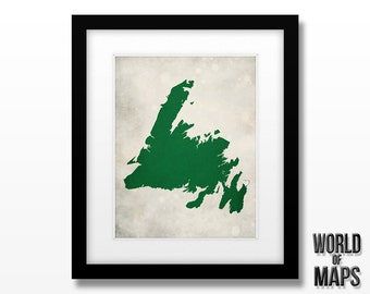 Newfoundland Canada Map Print - Home Town Love - Personalized Art Print Available in Different Sizes & Colors