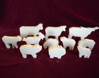 Farm Set 2, Cows, Sheep, Pigs and a Goat  Unfinished Pine Cutouts