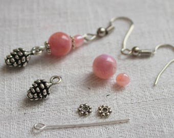 Pink Agate Earrings KIT and pine pigne