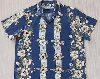 Hawaiian Shirt Men RJC LTD Hawaii Island Vacation Poster Art Aloha Shirt 100% Cotton Camp Surfer Beach Wear - 2XL - Oahu Lew's Shirt Shack