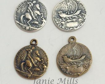 Medal St George and Ship Bronze or Sterling Silver