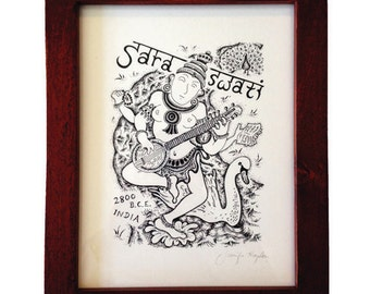 Saraswati: framed digital fine art print.