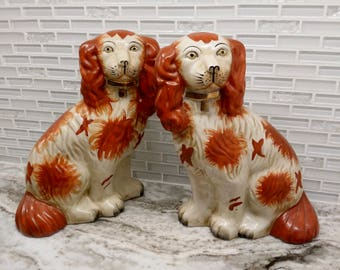 Antique Staffordshire Spaniels, russet staffordshire dogs, red spaniels, ginger spaniels, chimney spaniels
