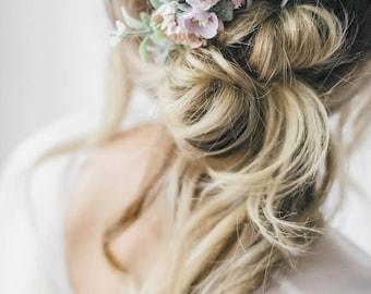 Purple flower comb, Bridal floral comb, bridal flower headpiece, Purple flower hairpiece, lavender ccomb, provence floral comb. hair flowers