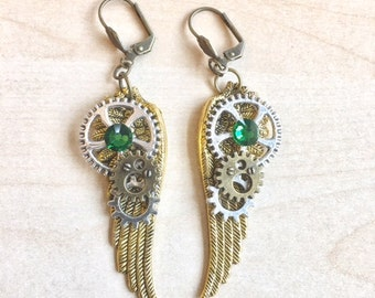 Steampunk with COGS, gears, wings and green crystal earrings