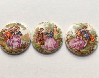 3 Porcelain Discs Colonial Couples Mixed Jewelry Media Art Supply Old Desk Drawer Hardware handles