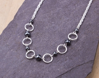 Silver hematite ring necklace - Grey gemstone necklace | Hematite bead jewelry | Circle jewellery | Semi precious stone accessories