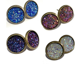 Druzy Stud Earrings - Bronze Setting with 12mm Druzy Cabochon - Choice of 8 Colors