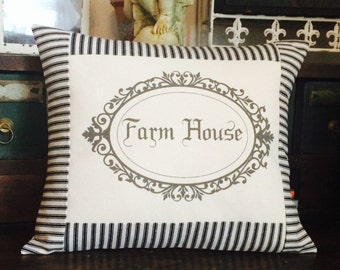Farmhouse Pillow with Black and Off White Ticking Stripe, Farmhouse Throw Pillow Cover, Cottage Style Pillow