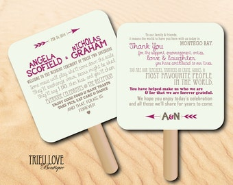 Personalized Lovestruck Sweetheart + Arrows Wedding Ceremony Program Fan - Fully Customizable Wording & Ready-to-DIY Kit (QTY 30+)