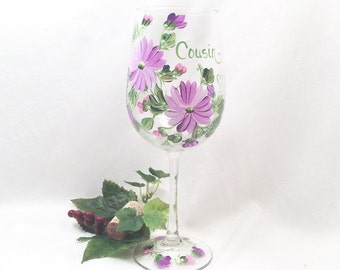 Free shipping Cousin sister daughter friend niece nana gift hand painted wine glass