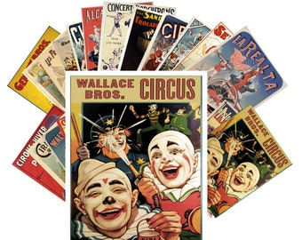 Postcards Set 24pcs * Vintage Circus Clown Athlete Poster CC1011