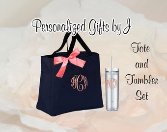 6 Personalized Bridesmaid Gift Tote and Tumbler Set, Wedding  Bags and Tumblers, Embroidered Tote - Maid of Honor Gift, Skinny Tumbler