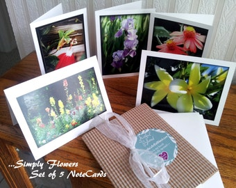 Simply flowers Set of 5 Note Cards