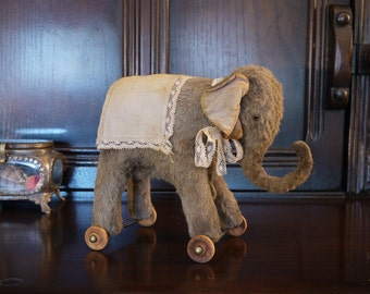 "PDF E-PATTERN for Viscose Pulling Toy Elephant  5""- 5.5"""