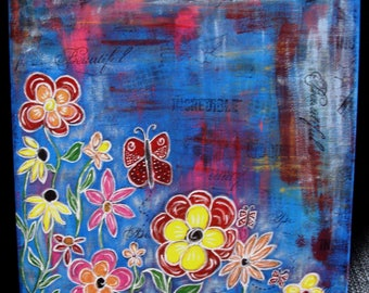 Canvas Wall Art 12x12 flowers and butterflies acrylics and ink