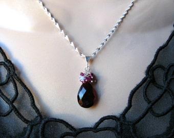 Garnet Quartz Necklace with Gemstone Cluster in Silver