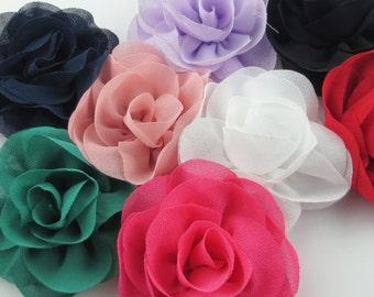 20pcs 65mm 2.5 inches Chiffon Rose Craft Flower Ornament