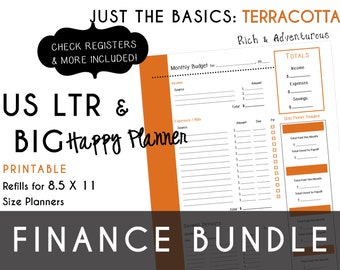 USLTR/BIG Happy Planner Finance Bundle Check Register, Monthly Budget, Debt Payoff Tracker, Debtor Contacts Passwords PDF - Terracotta